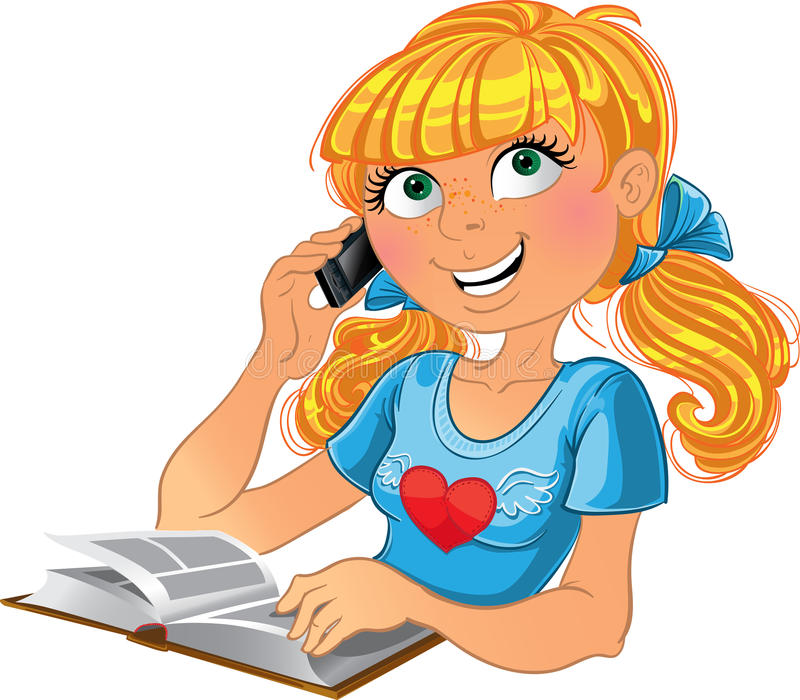 Blondes Mädchen und Telefon und Buch stock abbildung