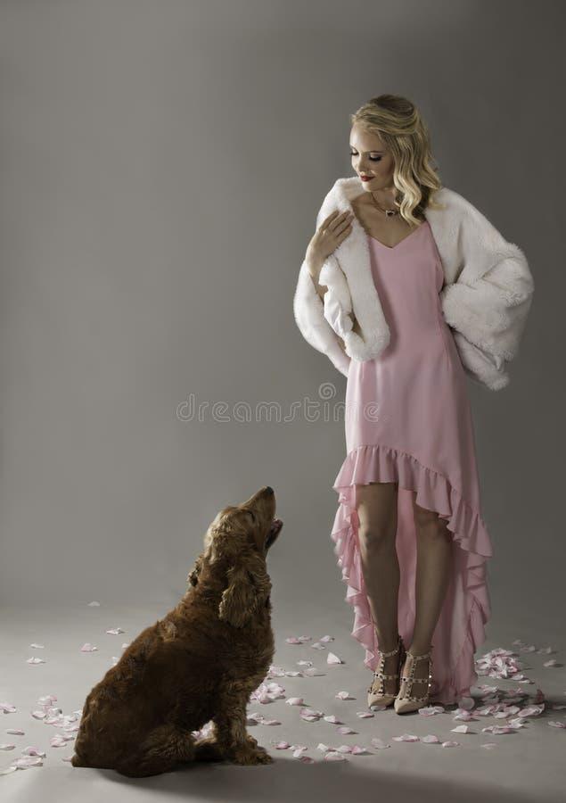 Blondes sociailte in der rosa Aufstellung mit Hund stockfotografie