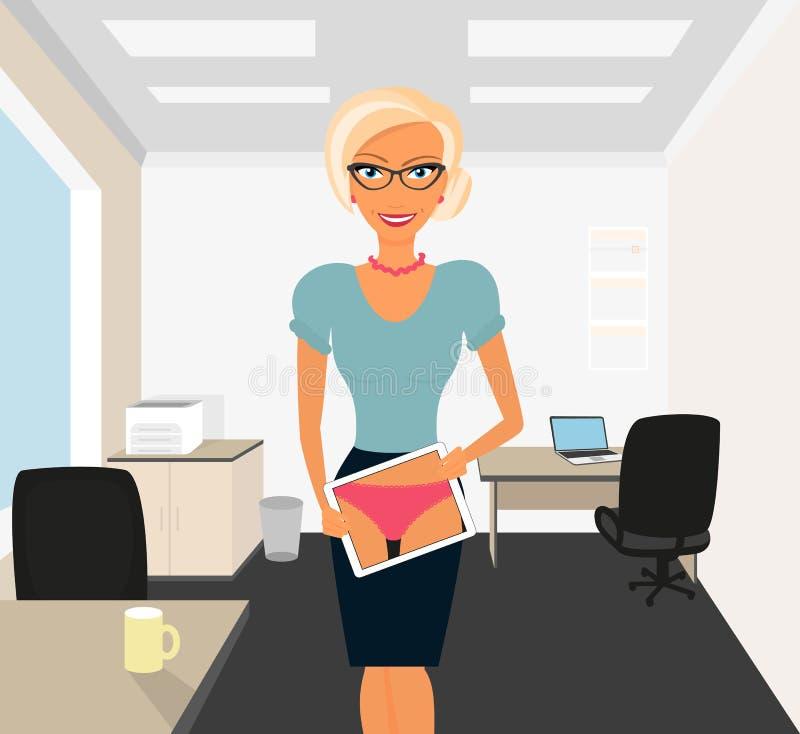 Blondevrouw die in bureau flirten die tabletpc met behulp van royalty-vrije illustratie