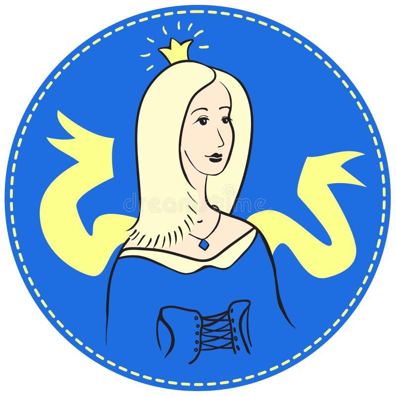 Blondevrouw met een kroon op haar hoofd stock foto