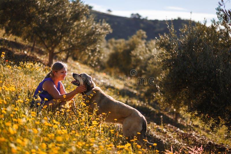 Blondevrouw met Spaanse mastiff op een gebied van gele bloemen stock afbeelding