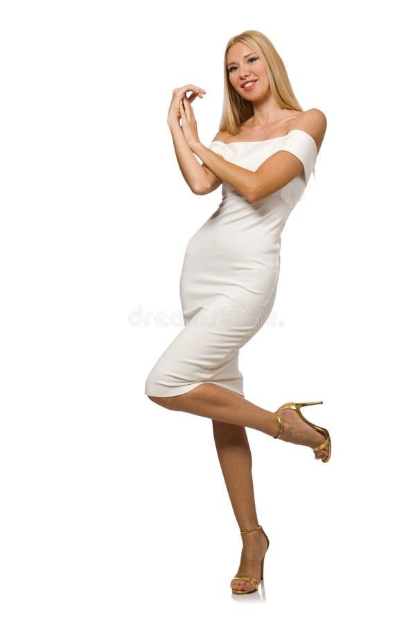 Blondie в элегантном платье изолированном на белизне стоковая фотография
