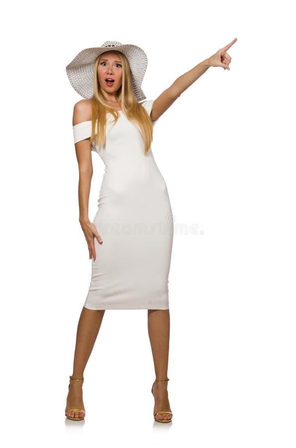 Blondie в элегантном платье изолированном на белизне стоковые изображения rf