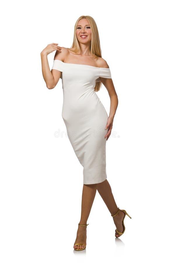 Blondie в элегантном платье изолированном на белизне стоковое изображение rf