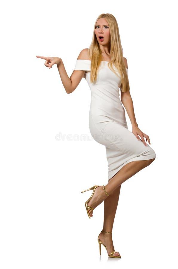 Blondie в элегантном платье изолированном на белизне стоковое фото rf