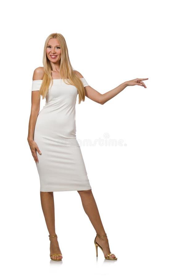 Blondie в элегантном платье изолированном на белизне стоковое фото