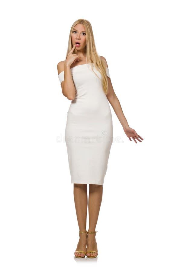 Blondie в элегантном платье на белизне стоковые изображения rf