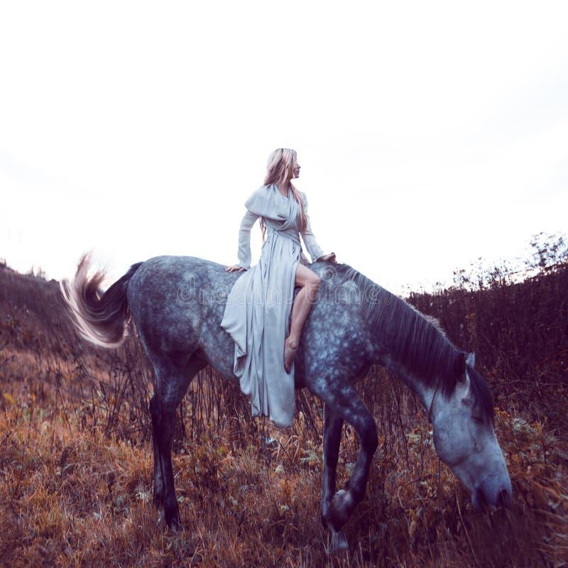 blondie de beauté avec le cheval dans le domaine, effet de la tonalité image stock