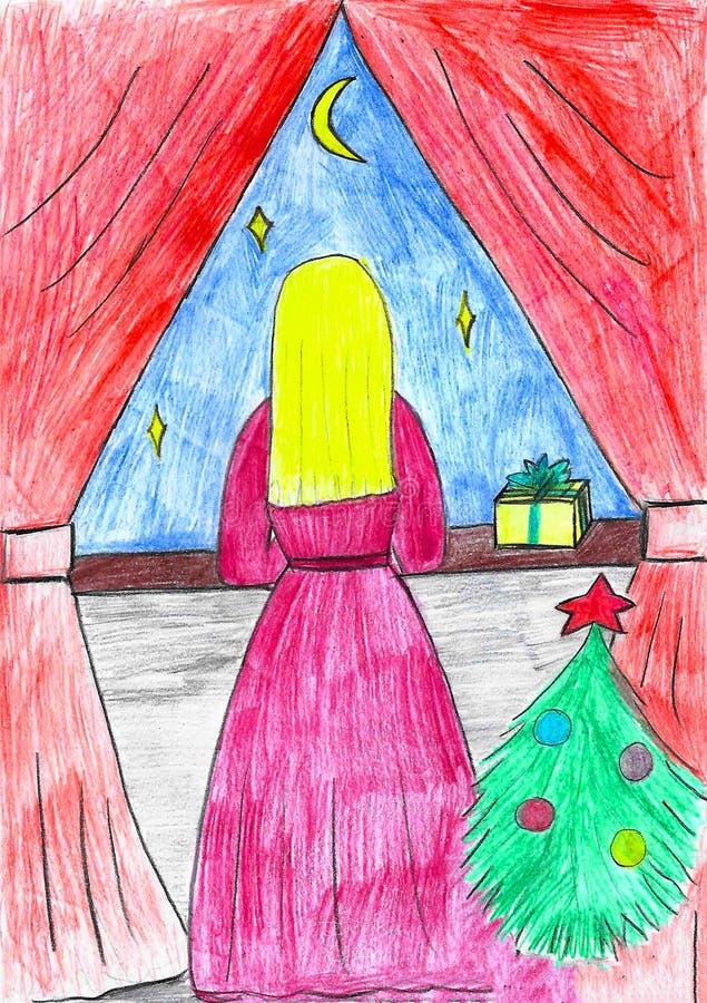 Blondie flicka i den rosa klänningen som ser fönstret, jul tid, barnteckning royaltyfri illustrationer
