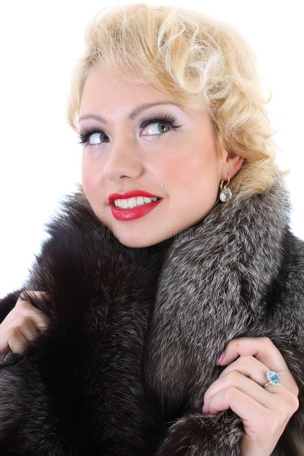 Blondie Frauenträumen lizenzfreie stockbilder