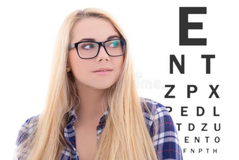 Blondie kvinna i glasögon på bakgrunden av ögonprovdiagrammet arkivfoton