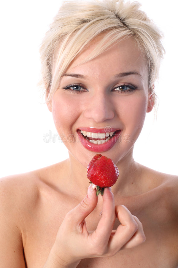 Download Blondie with strawberry stock image. Image of hand, carefree - 8188577