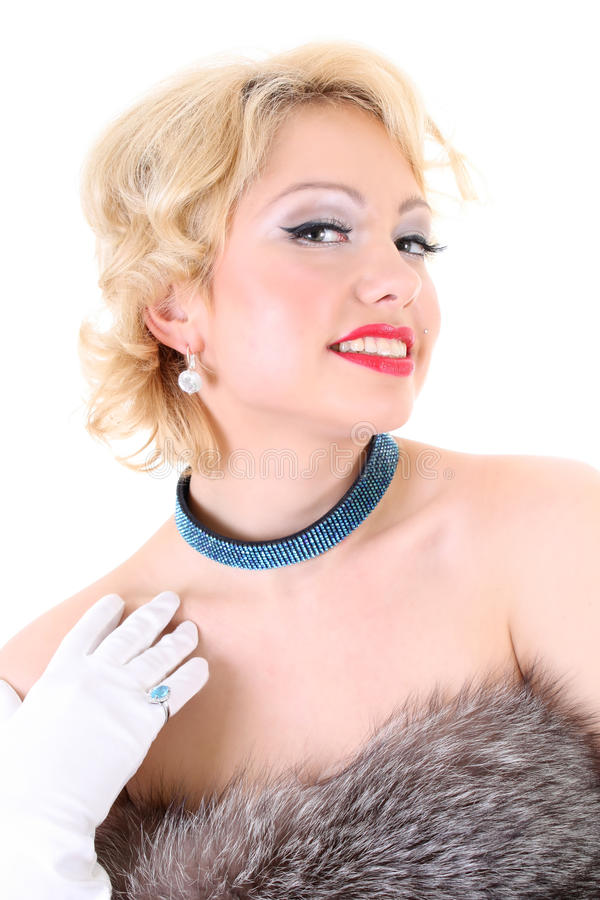 Blondie Woman With Fur Flirting Stock Images