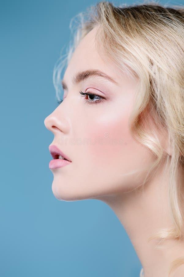Blondin i profil royaltyfria foton