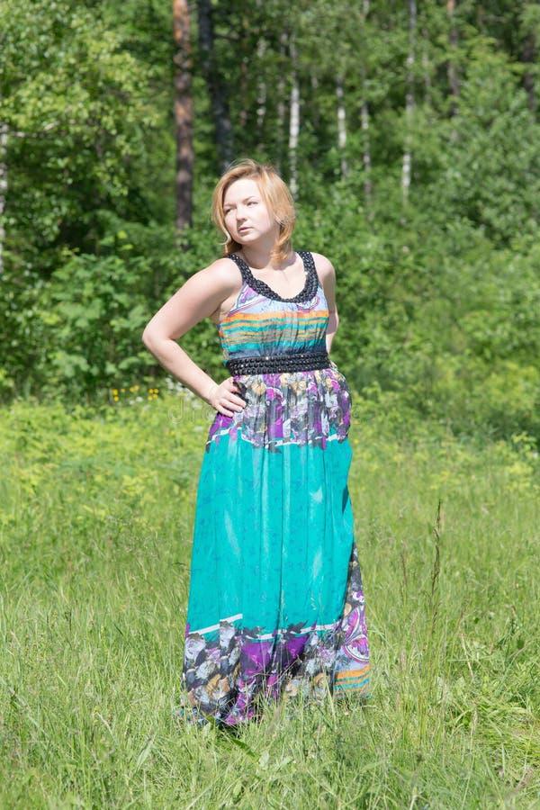 Blondine in einem Kleid stockfotografie