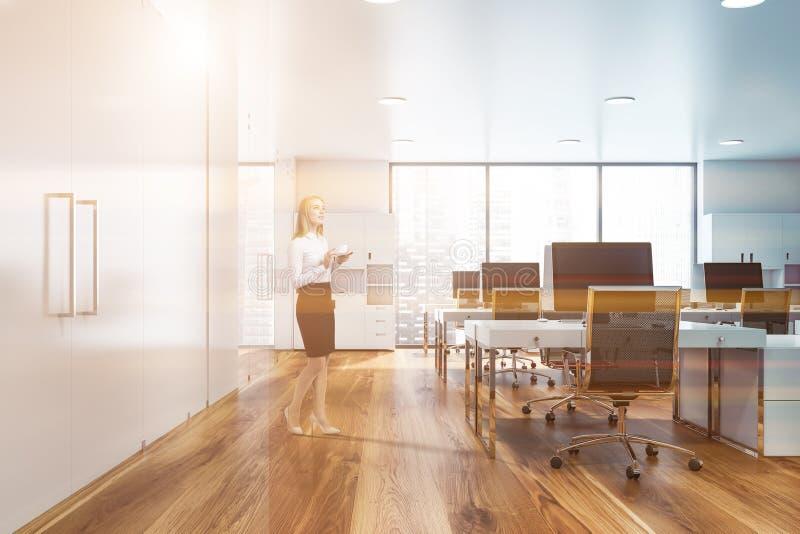 Blondine im panoramischen Büro lizenzfreie abbildung