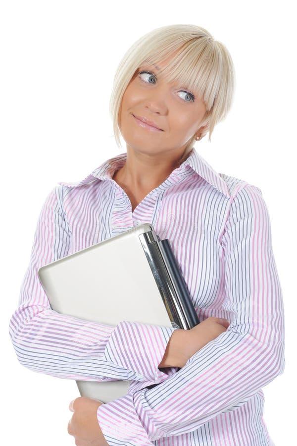 Blondine mit einem Computer stockbilder