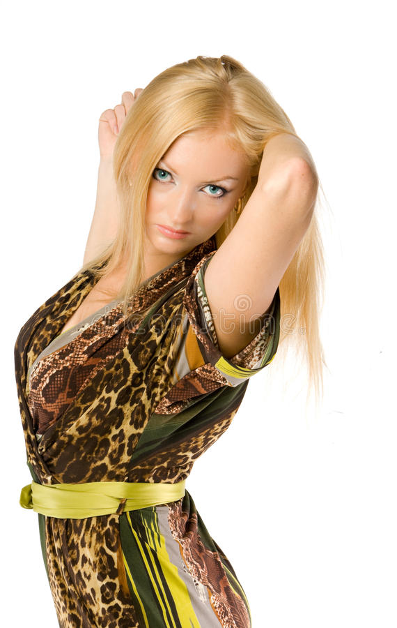 Blondine recht aufwerfen trennte lizenzfreie stockfotos