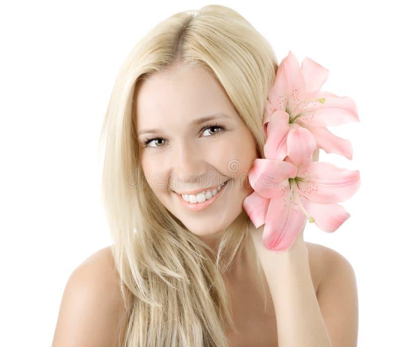 blondinen isolerade barn för liljaleendekvinna royaltyfri foto