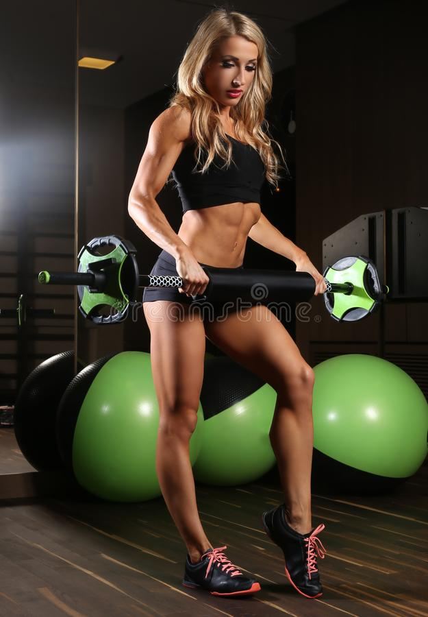 Blondy athletic female royalty free stock photography