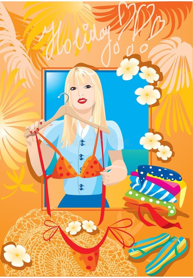 blondy flickatry för härlig bikini vektor illustrationer