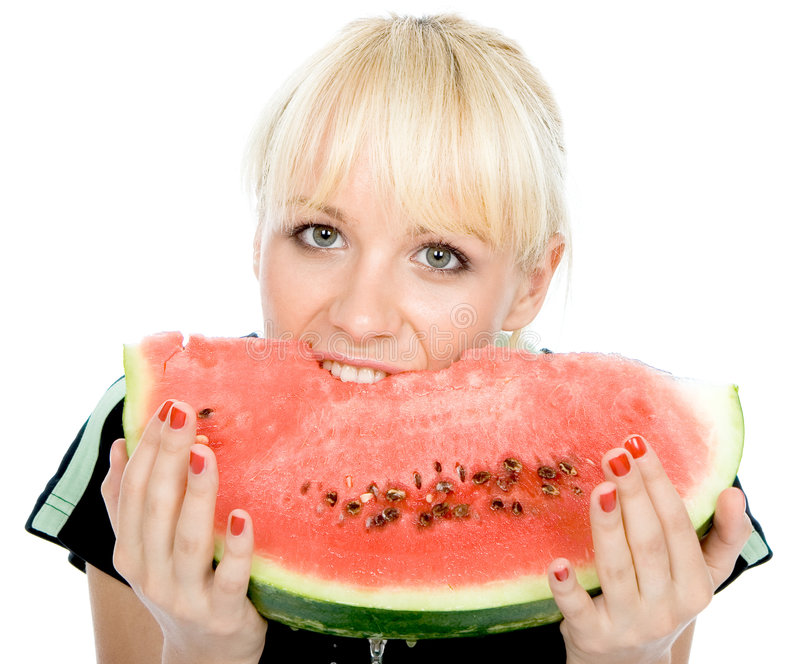 Blondy hold water-melon stock images
