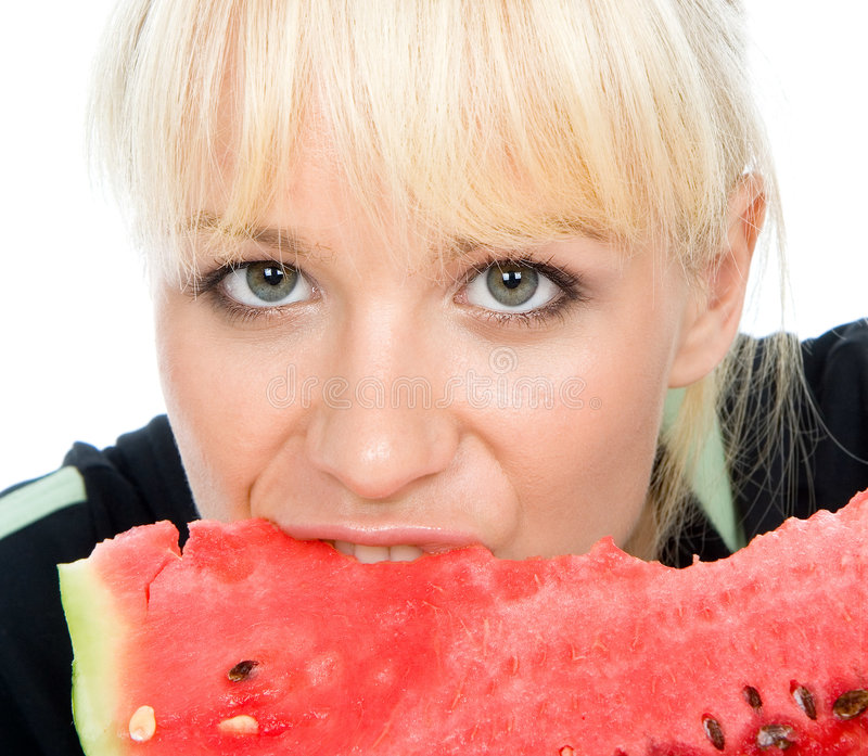 Blondy hold water-melon royalty free stock photos