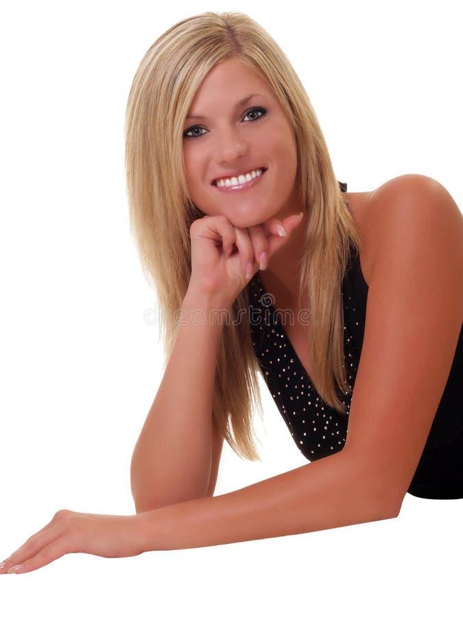 blondynów podłogowi uśmiechnięci kobiety potomstwa obraz royalty free