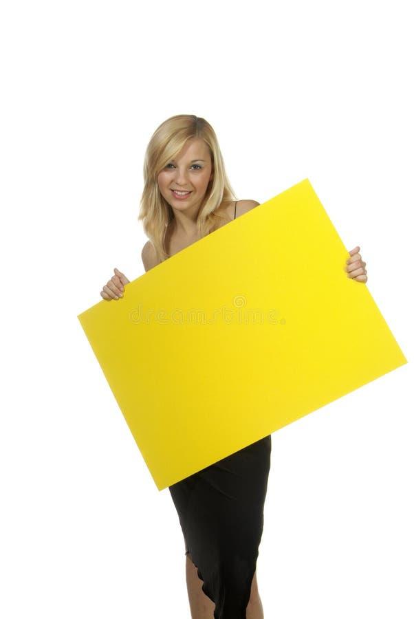 blondynów szyldowy kobiety kolor żółty fotografia royalty free