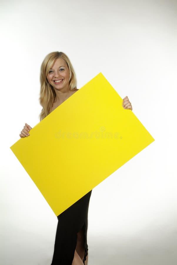 blondynów szyldowy kobiety kolor żółty zdjęcie royalty free