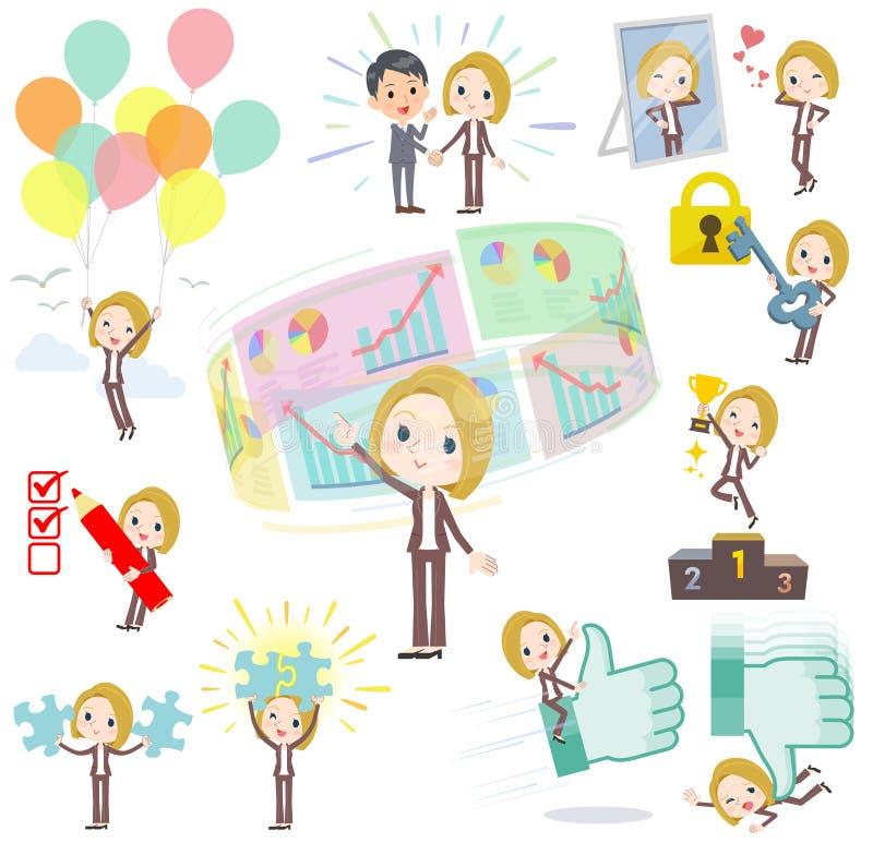 Blondyn kobiety Biały pozytyw & sukces ilustracja wektor
