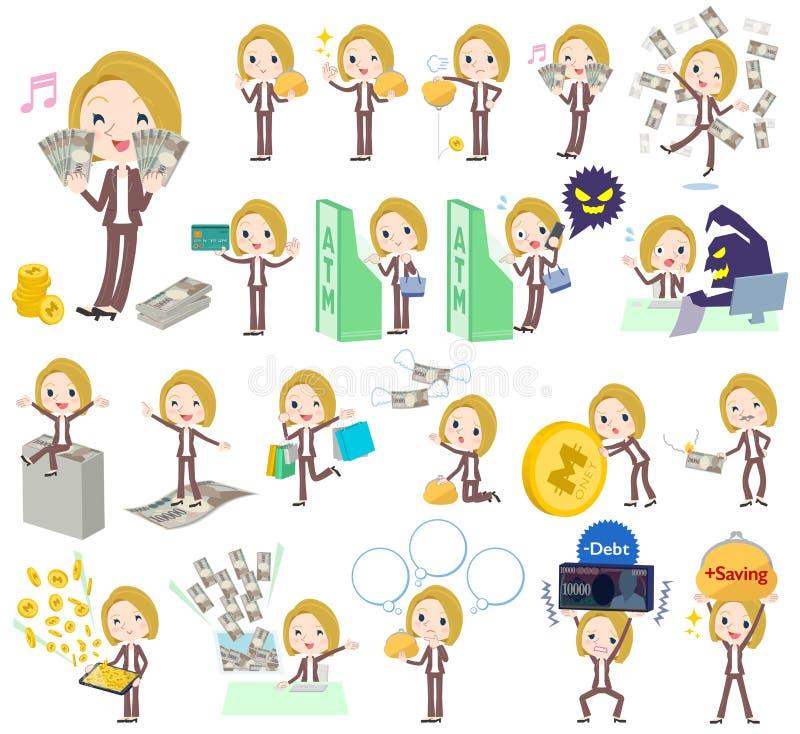 Blondyn kobiety bielu pieniądze royalty ilustracja