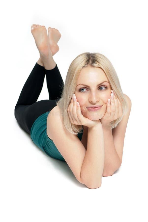 blondynka ćwiczy sprawności fizycznej target791_0_ zdjęcia royalty free