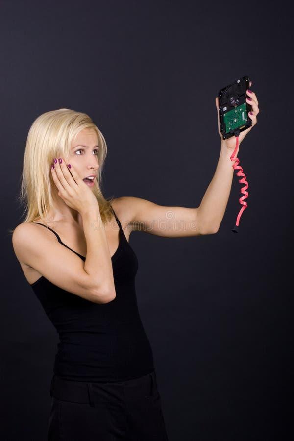 blondynka łamający komputerowy żeński część cud obraz stock