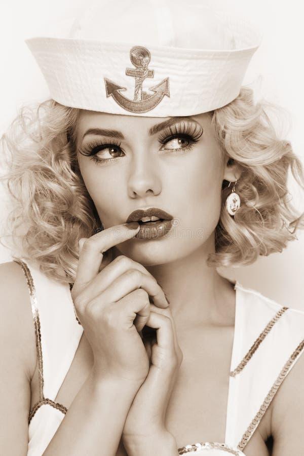 Blondynka żeglarz obrazy stock