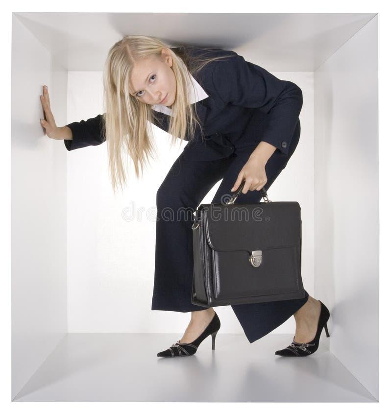 blondynka bizneswomanu white sześcianu zdjęcia royalty free