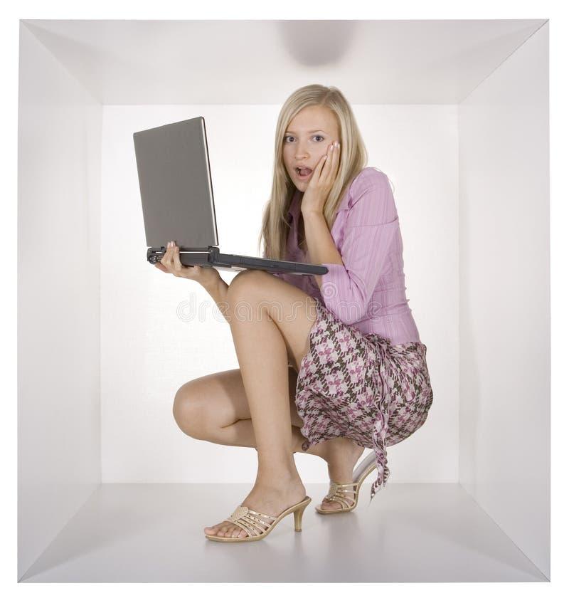 blondynka bizneswomanu white sześcianu obrazy royalty free