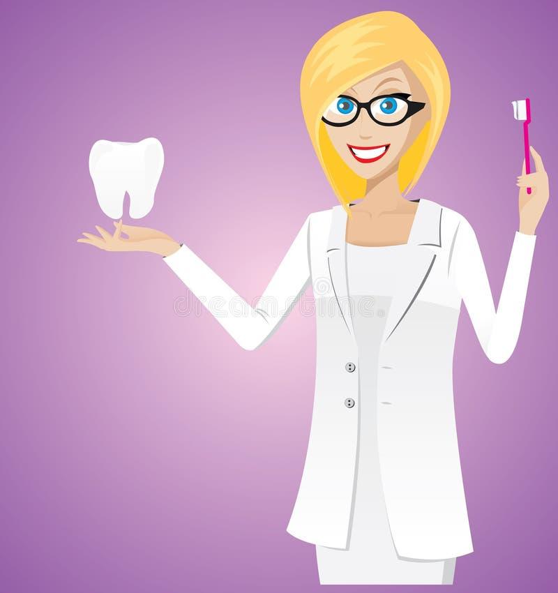 Blondynka dentysta royalty ilustracja