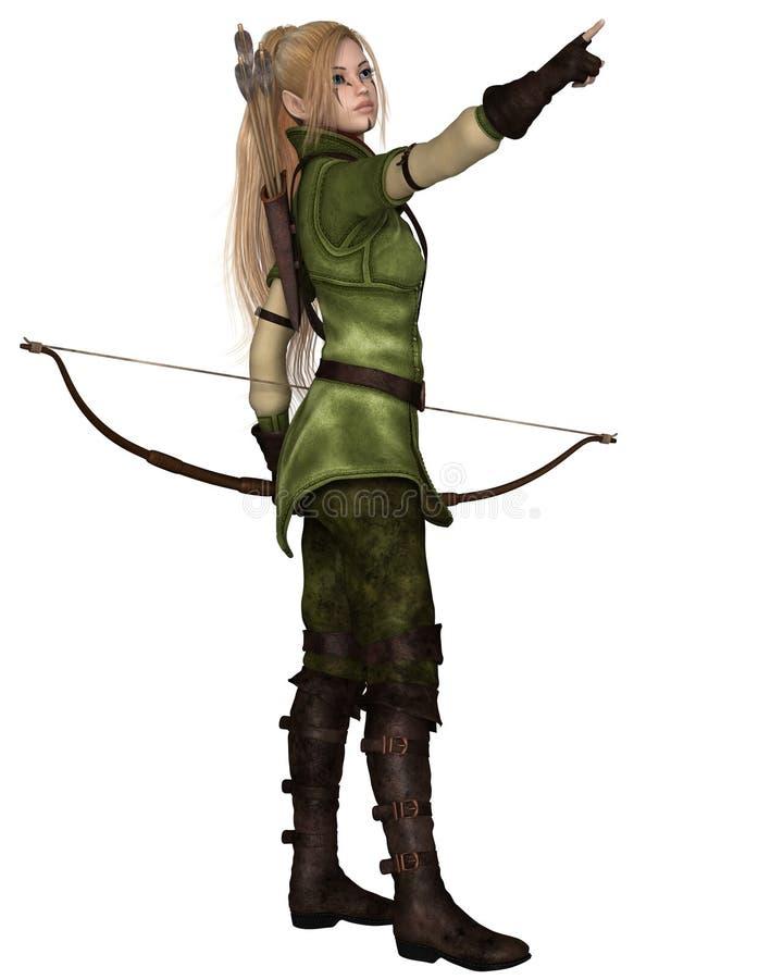 Blondynka Żeński elf Archer, Wskazuje royalty ilustracja