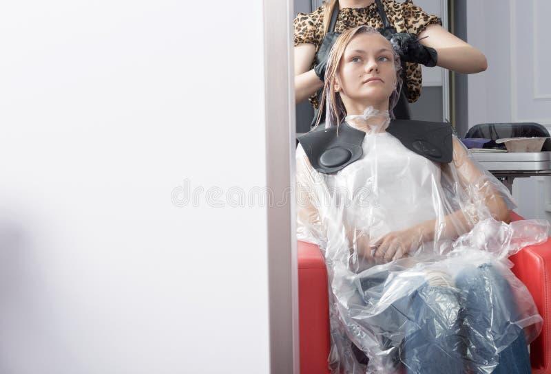 Blondynka klienta kolorystyki żeński włosy w fryzjerstwo salonie obraz stock