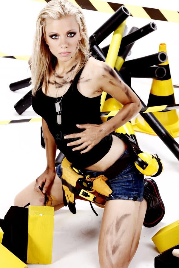 blondynka pracownik żeński seksowny zdjęcie royalty free