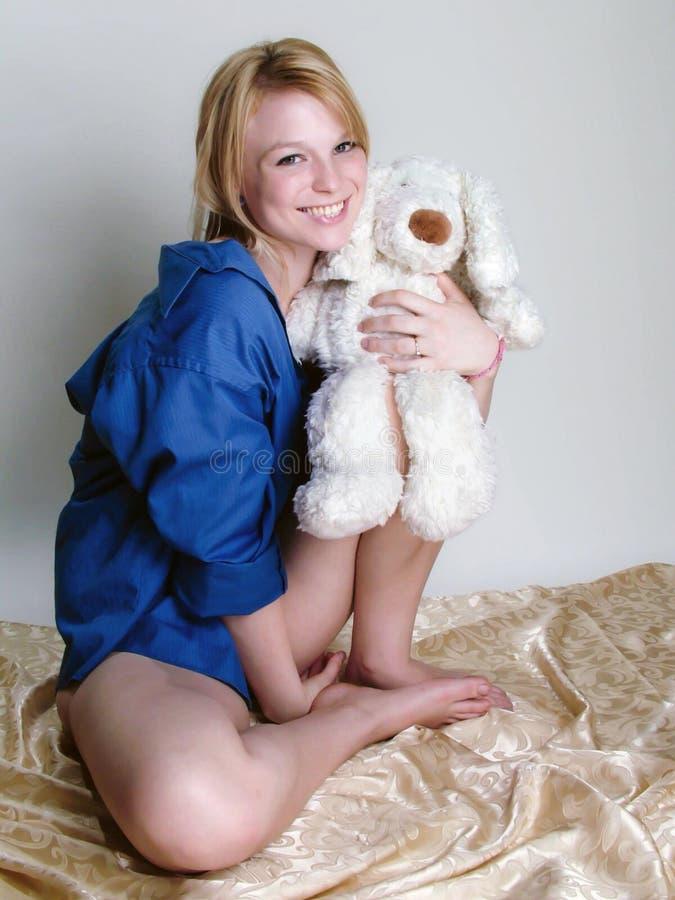 Blondynka w błękicie zdjęcie stock
