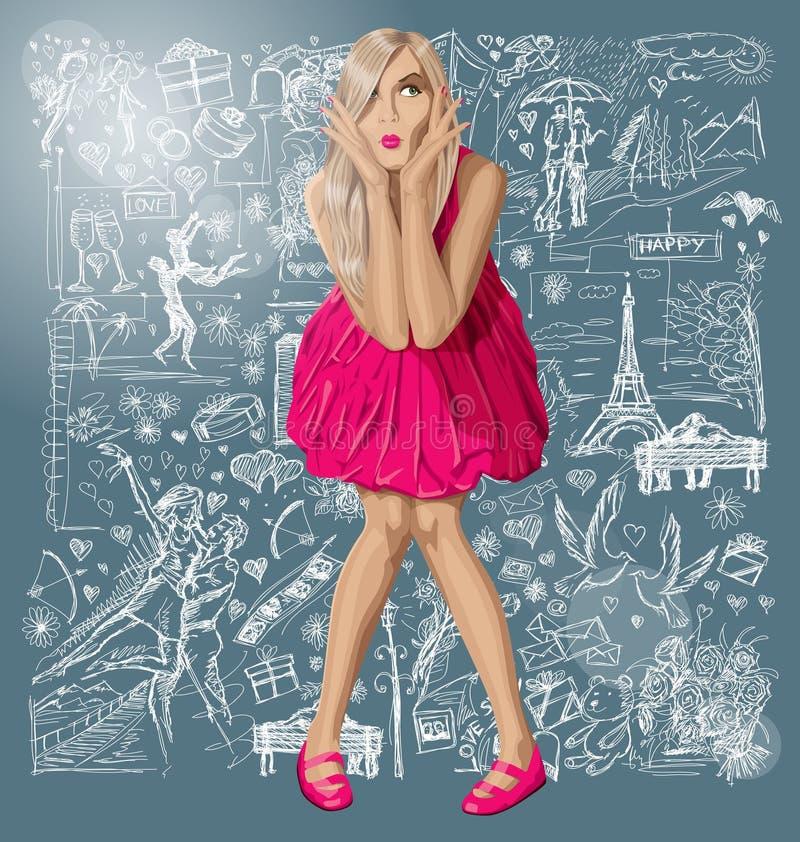 Blondynka W menchii sukni Przeciw miłości tłu ilustracja wektor