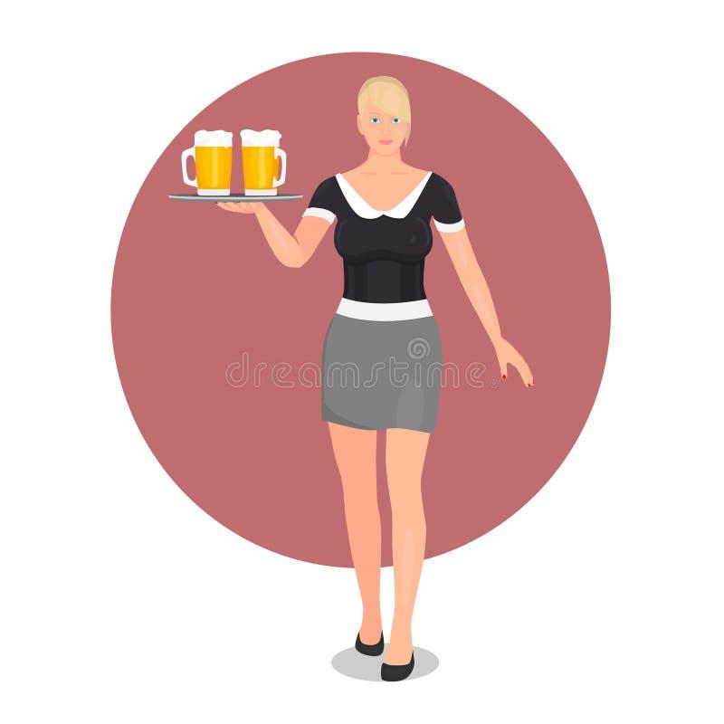 Blondynka z niebieskimi oczami pracuje jako kelnerka ilustracji