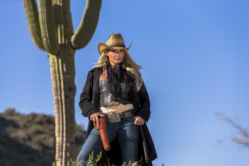 Blondynki Cowgirl fotografia stock