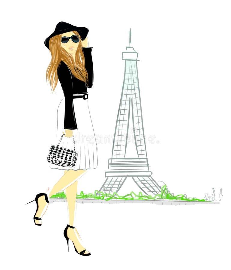 blondynki dziewczyna Paris ilustracji