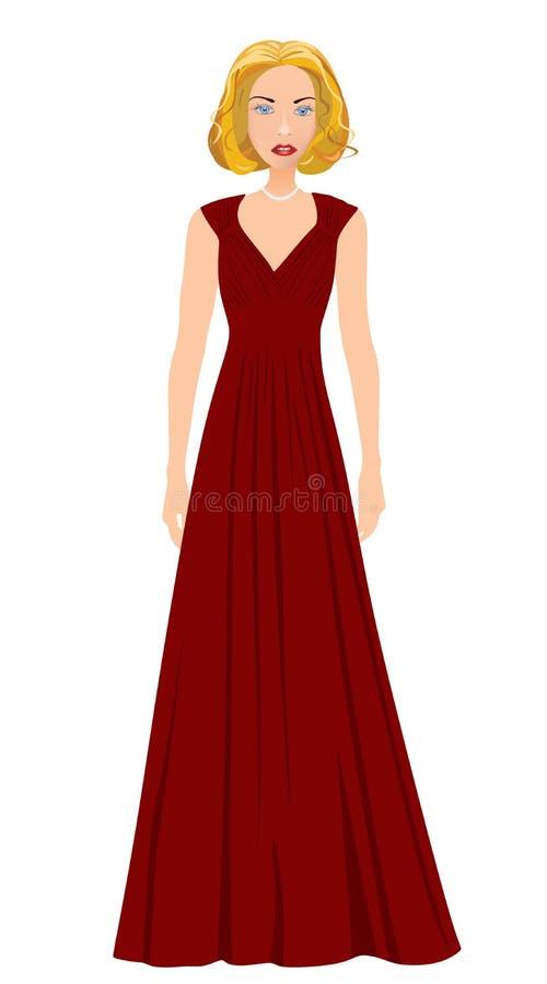 Blondynki dziewczyna w czerwonej wspaniałej sukni royalty ilustracja
