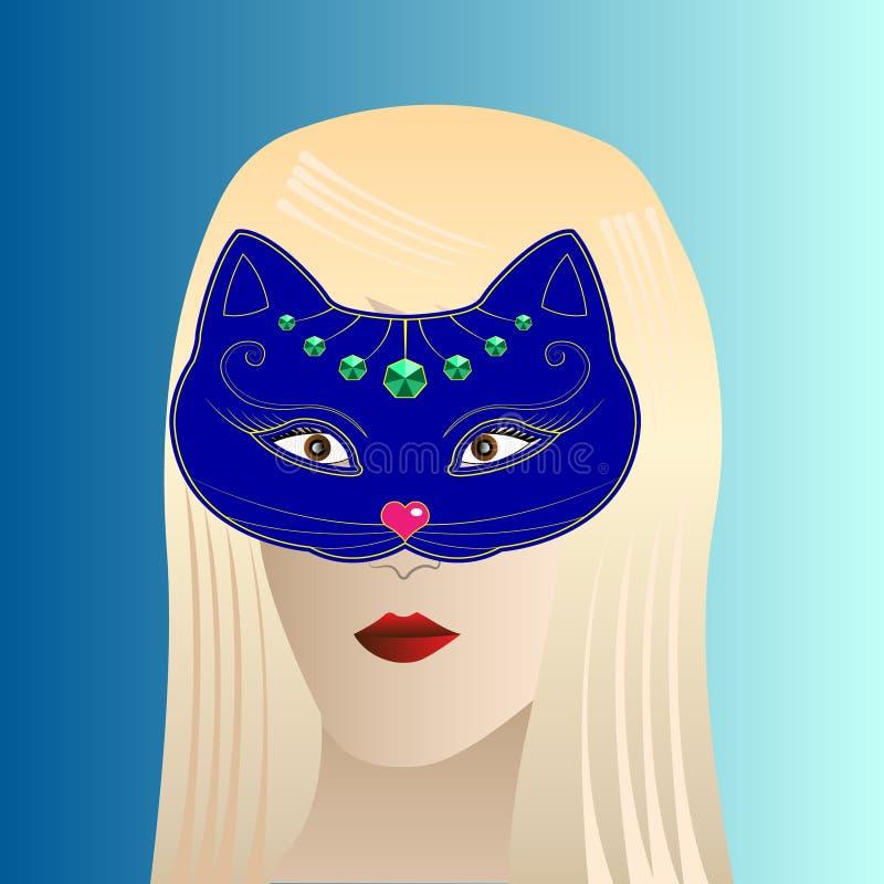 Blondynki dziewczyna w kota karnawału masce ilustracja wektor
