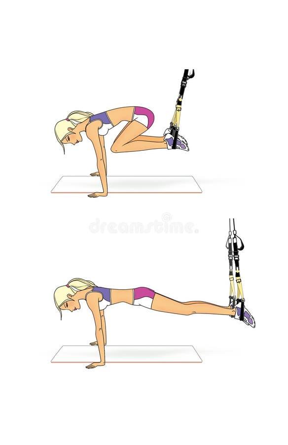 Blondynki dziewczyna wykonuje ćwiczenia na równowadze z expander Stojak na rękach z nogami szeroko rozpościerać Odizolowywający n ilustracja wektor