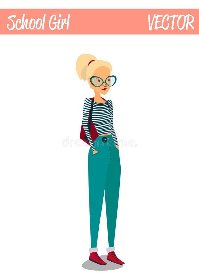 Blondynki dziewczyny postać z kreskówki ilustraci Studencki ono Uśmiecha się ilustracja wektor